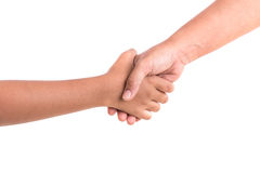 Two hands holding together. Help or support concept. Isolated on Royalty Free Stock Photography
