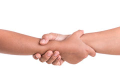 Two hands holding together. Help or support concept. Isolated on Royalty Free Stock Photo