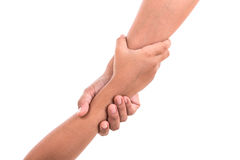 Two hands holding together. Help or support concept. Isolated on Stock Photography