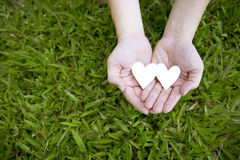 Two hands holding two white hearts on green grass Stock Photo