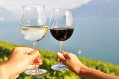 Two hands holding wineglases Stock Photos
