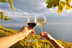 Two hands holding wineglases against vineyards in Lavaux region, Royalty Free Stock Photo