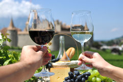Two hands holding wineglasses Royalty Free Stock Photos