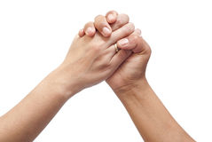 Two hands joined together Stock Images