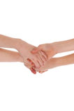 Two Hands Joining Together. Royalty Free Stock Photos