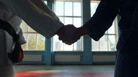 Two Hands Of Judokas Fighters Makes Handshake. Martial Arts stock video footage