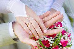Two hands of a just married couple Stock Photos