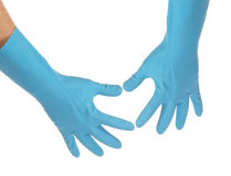 Two hands in latex gloves. Stock Photos