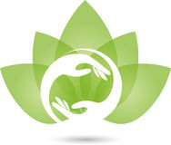 Two hands and leaves, naturopath logo Stock Images