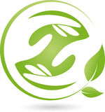 Two hands and leaves, naturopath and wellness logo Royalty Free Stock Images
