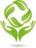 Two hands and leaves, plant, naturopath and wellness logo. Two hands and leaves, plant, colored, naturopath and wellness logo Stock Photography