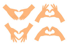 Two hands making heart shape. Isolated on white background. Love hand sign vector illustration Stock Photography