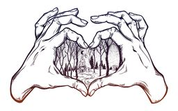 Two hands making heart sign with cabin in winter. Two hands making heart sign with wood cabin in winter forest landscape with trees and snow road. Vector Stock Photo