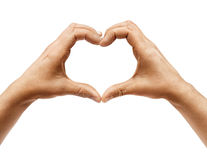 Two hands making heart sign isolated on white background. Stock Photo