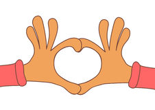 Two hands making heart sign. Love, romantic concept. Valentine d Royalty Free Stock Photo