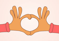Two hands making heart sign. Love, romantic concept.  Royalty Free Stock Images