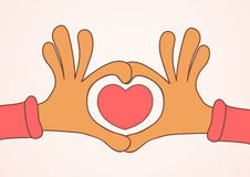 Two hands making heart sign. Love, romantic concept. Royalty Free Stock Photo