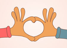 Two hands making heart sign. Love, romantic concept. Valentine day Royalty Free Stock Photos