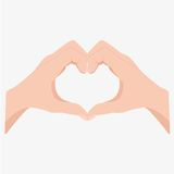 Two hands making heart sign. Love, romantic relationship concept. Isolated on white background. Flat  illustration Royalty Free Stock Photography