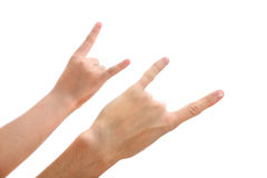 Two hands making a rock gesture Stock Photography