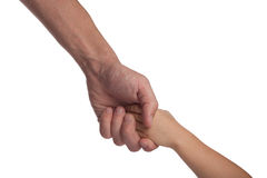 Two hands: man and child Royalty Free Stock Photo