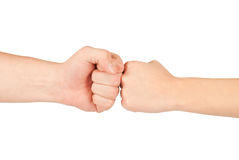 Two hands: man and woman. Isolated on white Stock Image