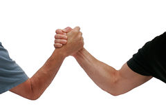 Two hands men wrestling. Isolated on white background Royalty Free Stock Photo