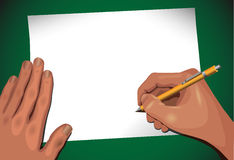 Two hands & message Stock Image