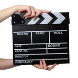 Two hands with a movie clapper board close Royalty Free Stock Photography