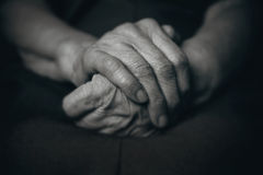 Two hands of an old man Stock Photo