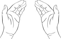 Two hands with open palms. Hand drawn vector illustration,guardian, safety sign Royalty Free Stock Images