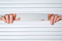 Two Hands Opening Shutters Stock Images