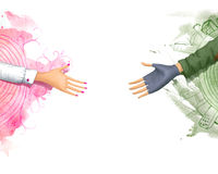 Two hands outstretched towards. Male and female hand outstretched toward Royalty Free Stock Images
