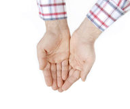 Two hands over white Stock Images