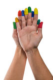 Two hands with painted fingertips Stock Photography