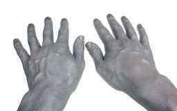 Two hands painted in silver Stock Photography