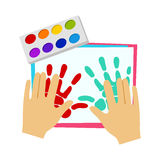 Two Hands Painting With Finger Paint, Elementary School Art Class Vector Illustration. Craft And Art For Young Kids Isolated Cartoon Vector Illustration Stock Photography