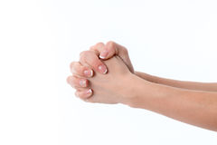 Two hands with palms facing each other, pressed fist close-up Stock Photography