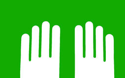 Two hands parallel, on green background, eco sign Stock Photography
