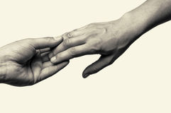 Two hands - parting. Two hands (farewell touch lovers Stock Photography