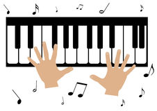 Two hands, a piano and music notes Royalty Free Stock Photo