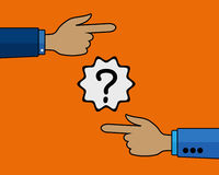 Two Hands Pointing In Different Directions. Two Hands ON Orange Background Pointing In Different Directions Royalty Free Stock Photo