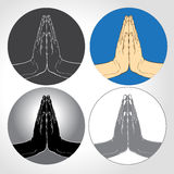 Two Hands Pressed Together in Prayer Position set Royalty Free Stock Photography