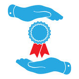 Two hands protecting badge with red ribbons icon Stock Photo