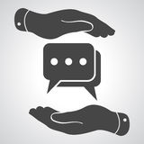 Two hands protecting flat chat icon Royalty Free Stock Images