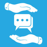 Two hands protecting flat chat icon Royalty Free Stock Photography