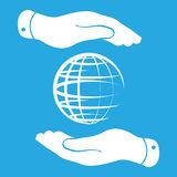 Two hands protecting globe icon Stock Photos