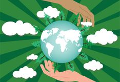 Two hands protecting the green world. Royalty Free Stock Image