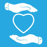 Two hands protecting heart icon Stock Photo
