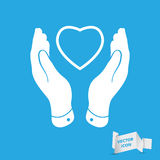Two hands protecting heart icon Stock Photos